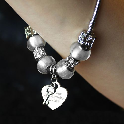 Personalised Key Charm Bracelet - Ice White - 21cm